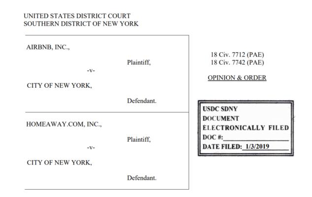 纽约市严管Airbnb法案 被联邦法官叫停